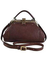 f29de8dc8205 Gianni Conti Fine Italian Small Leather Brown Gladstone Grab Shoulder Bag  913317