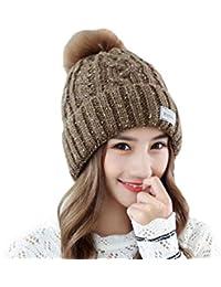 Boomly Femmes Filles Bonnet à Tricoter avec bommel Pompom Cap Chapeau  d hiver Beanie Bonnet Chaud Chapeau Thermique des Sports Ski… e7ce284b65a