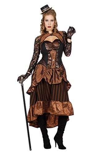 Karneval-Klamotten Steampunk Damen-Kostüm Luxus Viktorianisches Kleid Gothic Vintage Kostüm braun schwarz mit Spitze Größe (Viktorianisches Steampunk Kleid)