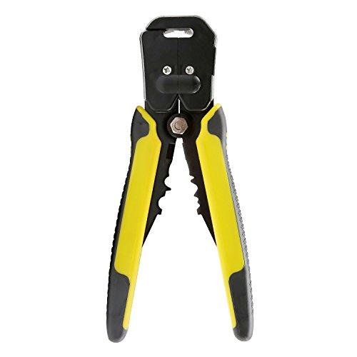 FSDUALWIN Professionelle, Automatische Abisolierzange, Einstellbare Schnitttiefe und Schnittlänge, Stripper mit Drahtschneider und Crimpzange für 10-24 AWG Hülsen