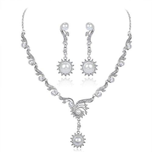 Sunnywill Damen Halskette Kette Choker Anhänger Legierung Strass Halskette Ohrringe Anhänger Set Hochzeit Braut Schmuck Geschenk (F)