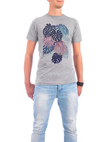 """Design T-Shirt Männer Continental Cotton """"Monstera Melt"""" - stylisches Shirt Floral Natur von littleclyde Grau"""