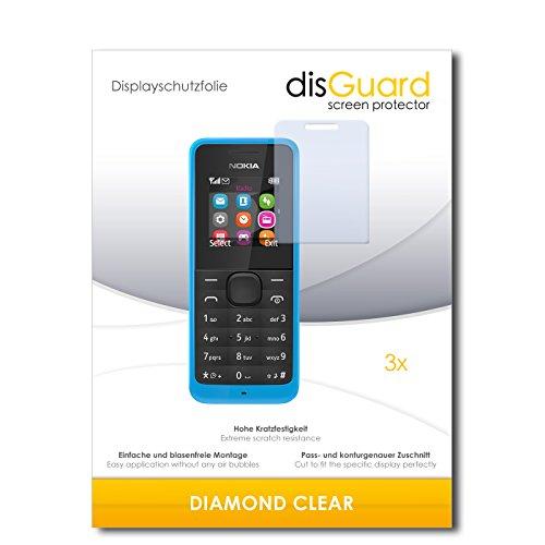 3 x disGuard® Schutzfolie Nokia New 105 Dual Sim Displayschutz Folie