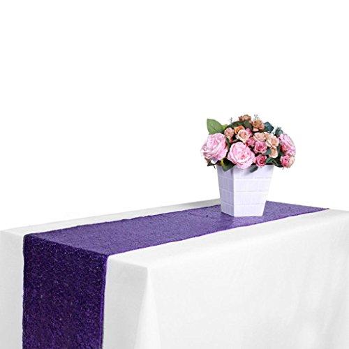 e Pailletten Satin Tischläufer 30x300 cm Glitter Hochzeit Party Veranstaltungsdekor Hotel Hochzeit Bankett Tischtuch mit hoher Dichte Tabletten (Lila, 30x275cm) (Lila Polka Dot Tischdecke)