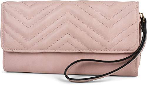 styleBREAKER Damen Portemonnaie mit gestepptem Umschlag, Handschlaufe und Druckknopf, Geldbörse 02040123, Farbe:Rose -
