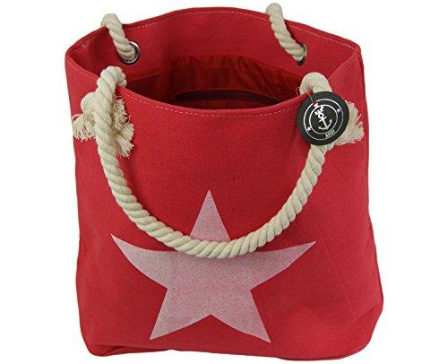 XXL borsa Shopper borsa da spiaggia borsa Shopper borsa a tracolla borsa a tracolla con stella e Anker motivo Rot(Stern) Rot(Stern)