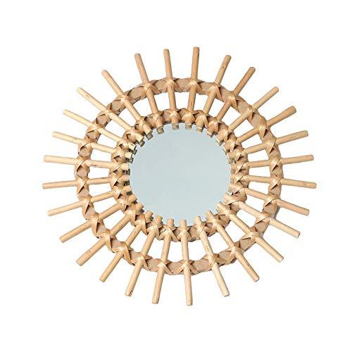 Espejo de baño de ratán Espejo de vanidad Espejo de maquillaje Espejo enmarcado Baño de baño Espejo colgante de pared