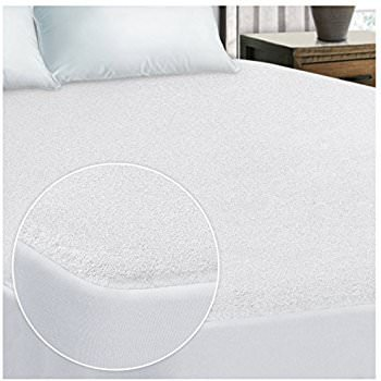 British Choice Linen Anti-Allergy, Anti-Bacterial SafeRest Premium Waterproof Mattress Protector Fitted Style Euro Ikea King Size (160X210+30 Cm Pocket Drop)Terry Cotton White Solid Fitted style