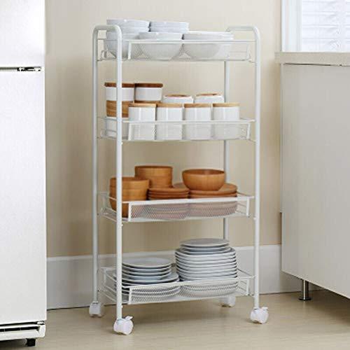 Kitchen furniture - Panier à la mode de stockage de support de four à micro-ondes de plateau multifonctionnel d'or avec la roue WXP (Couleur : Blanc, taille : 45.2X26X84.3CM)