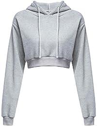 Amlaiworld Sweatshirts Mode Kurz Pulli Langarmshirts Damen bauchfrei  komfortabel locker Sweatshirt weich Winter Herbst Kapuzenpullover für… 11f41f5e21