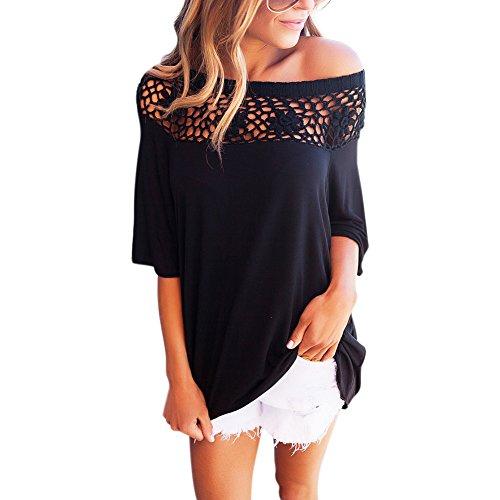 iBaste Femme Chemise Coupe Sans Bretelles en Lacet T-shirt Creux Noir