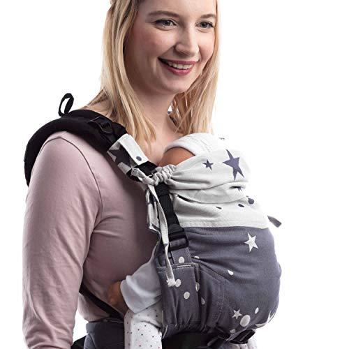 SCHMUSEWOLKE FirstEdition Babytrage Neugeborene und Kleinkinder Mirastar Blue BIO-Baumwolle Babysize 0-12 Monate 3-12 kg Bauch-und Rückentrage