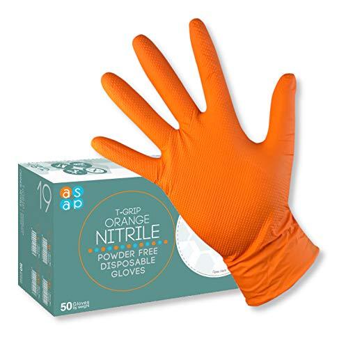 ASAP T-Grip NARANJA Guantes desechables en nitrilo sin polvo, 8.5g de DIAMANTE texturado - Caja de 50...
