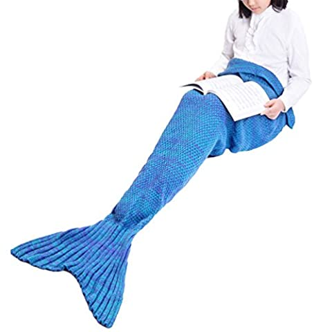 Mermaid Tail Blanket by SunnyTrip, Fishtail Blanket for Women and Girls, Fuzzy Knit Throw in Various Vivid Colors, Fashionable and Stylish, Wonderful Gift for Your Best Friend / Wife / Mother / Daughter (Blue, Kid)