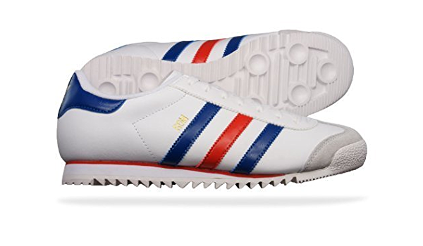 White Red Blue Retro Leather Trainers