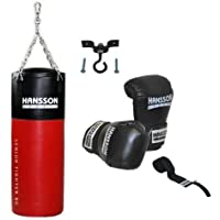 Hansson.Sports Boxset: sacco da boxe 80cm lunga + Guantoni da boxe 12once + fascia +–Supporto da soffitto
