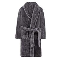 Premewish Kids & Adult Fluffy Fleece Dressing Gown Thick Sleepwear Robe with Pockets and Belt Gray