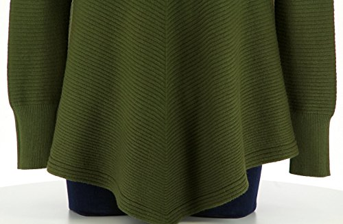 Charleselie94® Pull Tunique Trapèze Asymétrique Hiver Kaki Christophe Vert Vert