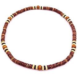 Collar Surf surfista étnico de madera, diseño de perlas, de madera-Braga de cuello para hombre, diseño de niño con colgante para mujer, diseño de Tribal