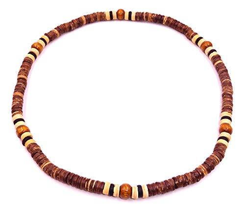 Collar surfero de perlas de madera y de coco. Tamaño ajustable (nudo deslizante).