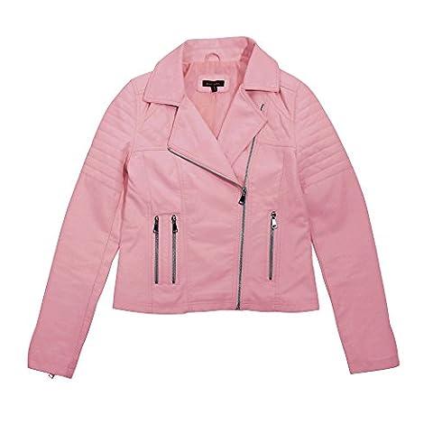 Brave Soul Womens/Ladies Roxie Quilted Biker Jacket (10) (Dusty Pink)