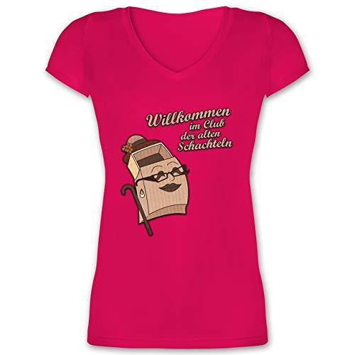Geburtstag - Willkommen im Club der Alten Schachteln - S - Fuchsia - XO1525 - Damen T-Shirt mit V-Ausschnitt -