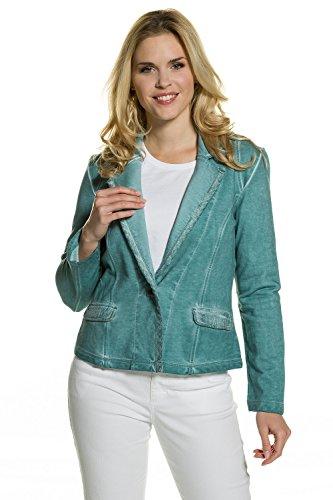 GINA LAURA Damen | Sweat-Blazer | Cool Dyed | Größe S-XXXL | Reverskragen, Druckknöpfe| Baumwolle | petrolblau L 711283 75-L - Petite V-ausschnitt Strickjacke