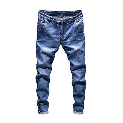 CAOQAO Pantaloncini da Uomo Jeans/Autunno Retro da Uomo Casual Lavato Cintura Hip Hop Pocket Zipper Jeans/Luce Blu / 28-38