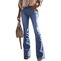 Aleumdr Jeans Donna a Zampa di Elefante Jeans Donna Elasticizzati Svasati Classici Slim Fit Pantaloni Donna Jeans - Cielo Blu