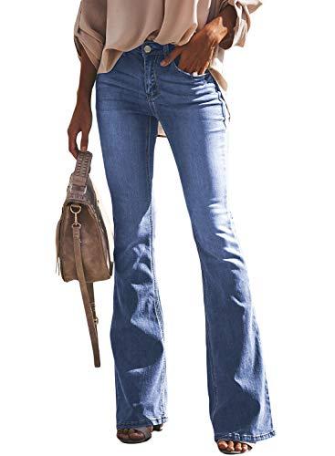 Aleumdr Jeans Donna Zampa di Elefante Jeans Donna Elasticizzati Svasati Classici Slim Fit Pantaloni Donna Jeans Cielo Blu
