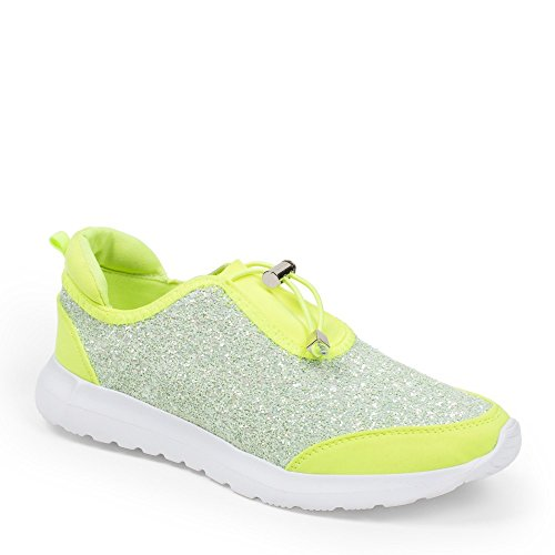 Ideal Shoes – Sneaker bi-materiale con parte effetto glitter Salia Giallo
