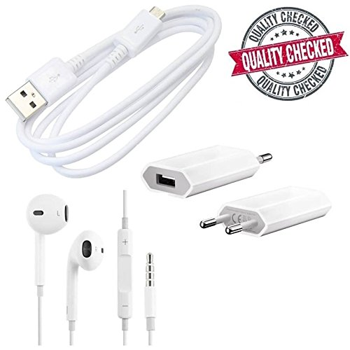 Gionee E7 Mini Compatible Certified HQ set of Earpod with USB Data Cable & 1amp Adapter  available at amazon for Rs.349