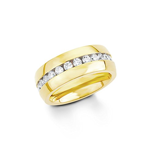 s. Oliver Damen-Ring Edelstahl teilvergoldet Zirkonia weiß Rundschliff Gr. 58 (18.5) - 540032