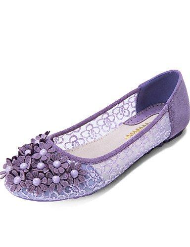ZQ YYZ Damenschuhe - Ballerinas - L?ssig - T¨¹ll - Flacher Absatz - Mokassin / Rundeschuh / Geschlossene Zehe -Schwarz / Blau / Gelb / Rosa / purple-us6.5-7 / eu37 / uk4.5-5 / cn37
