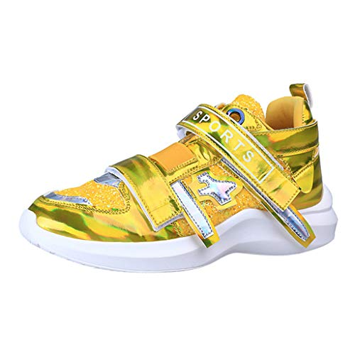 Lilicat Scarpe da Ginnastica Donna Air Running Basse Sneakers Interior all'Aperto Corsa Sportive Fitness Palestra Paillettes ColorateComode per Camminare Jogging Sneakers(Giallo,38 EU)
