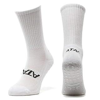 Atak Sports Men's Non Slip Mid Leg Socks, Plain White, 9-12