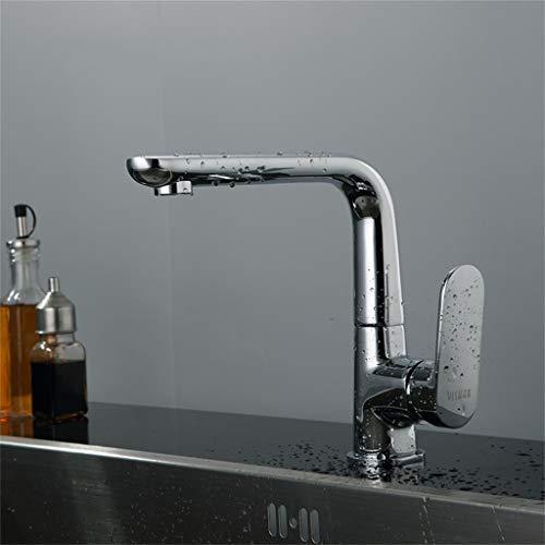 SCJS Wasserhahn Alle Kupfer Küchenspüle heißen und kalten Gemüse Becken Wasserhahn einzigen Handgriff Einlochmontage kann gedreht Werden