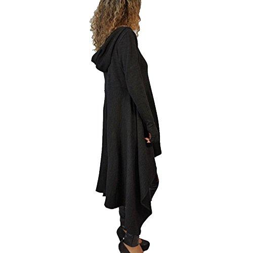 Minetom Damen Hoodies Pullover Unregelmäßige Strick Hoodies Oversize Langarm Pullikleid Longshirt Top Minikleid Schwarz