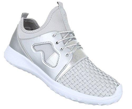 Damen Freizeitschuhe Schuhe Sneaker Schwarz Gold Silber 36 37 38 39 40 41