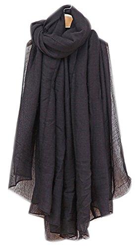 Bufandas Mujer Larga Mezcla Algodon Bufanda Mujeres Caliente Suave Color Puro Bufanda Primavera Otoño Invierno Negro