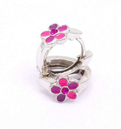 ASS 925 Silber Kinder Ohrringe Creolen KlAPPCREOLEN BLUME poliert Glas Rose mit Lack Pink