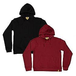 Campus Sutra Womens Fleece Sweatshirt Pack of 2 ( CS_H_W_PLN_BLMA_M _ Multi-Coloured _ M )