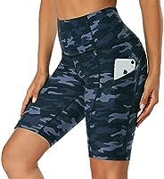 HLTPRO High Waist Biker Shorts for Women with Pocket, Athletic Yoga Running Workout Shorts