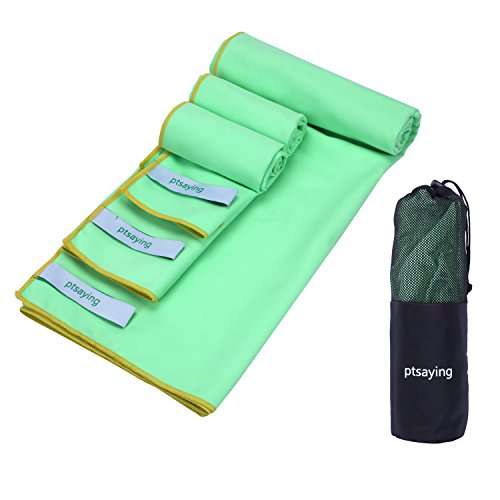 Asciugamani sportivi a microfibra, ptsaying 3 pacchetti (extra large 55x30inch, large 31x16 pollici, medium 16x16inch) asciugamano veloce, super absorbente, asciugamano leggero per nuoto, viaggi, sport, camping, spiaggia, bagno (verde brillante)