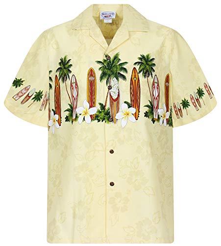 Größe Disco Kostüm 70's Plus - PLA Original Hawaiihemd Surfbretter Brustdruck, Gelb, S