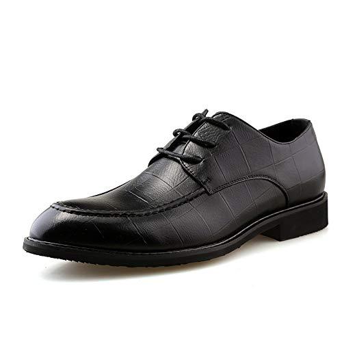 Jingkeke Herren Plaid Emboss Business Oxfords for Herren Low Top Schnürschuh Loafer Schuhe Synthesis Leder Round Toe Rubber Starke Laufsohle Ins Auge fallend Mode (Farbe : Schwarz, Größe : 38 EU) -