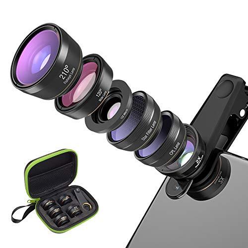 H&T 6-in-1-Telefon-Kameraobjektiv-Kit, 15-Fach Makro + 210 ° Fischauge + 2-Fach Tele + 120 ° Weitwinkel + Polarisiert/Sternenlicht/Universal-Clip Kompatibel mit iPhone Samsung Huawei