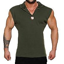 Coofandy Camiseta de Tirantes sin Manga con Capucha y Botones Deporte y  Fitness 5f8ca5e1faae6