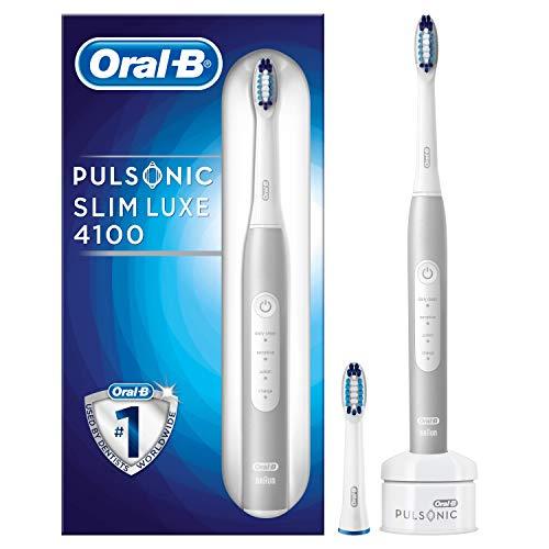 Oral-B Pulsonic Slim Luxe 4100 Elektrische Schallzahnbürste, für gesünderes Zahnfleisch in 4 Wochen, mit Timer und 2 Aufsteckbürsten, platin