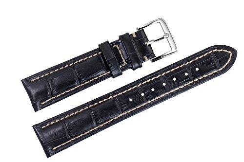 20 mm di lusso nero cinturini sostituzione pelle italiana / fasce handmade cuciture bianche per gli orologi top-grade